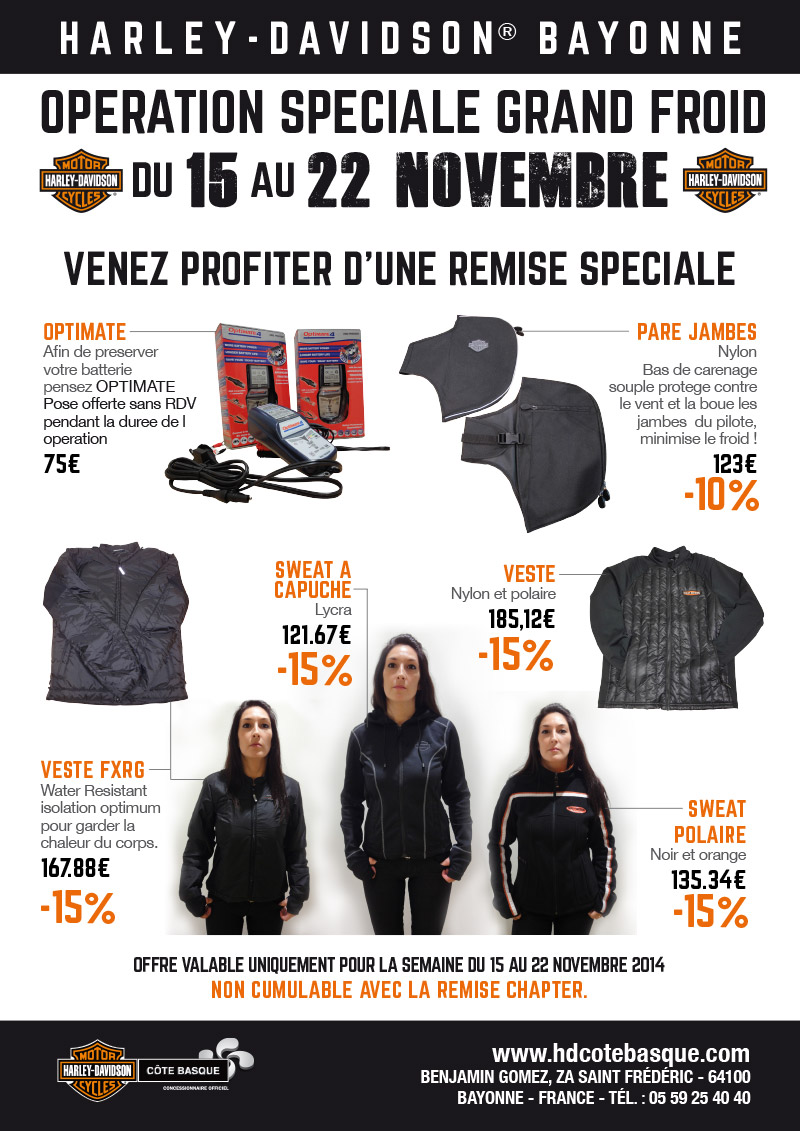 op ration sp ciale grand froid du 15 au 22 novembre 2014 concessionnaire officiel harley. Black Bedroom Furniture Sets. Home Design Ideas
