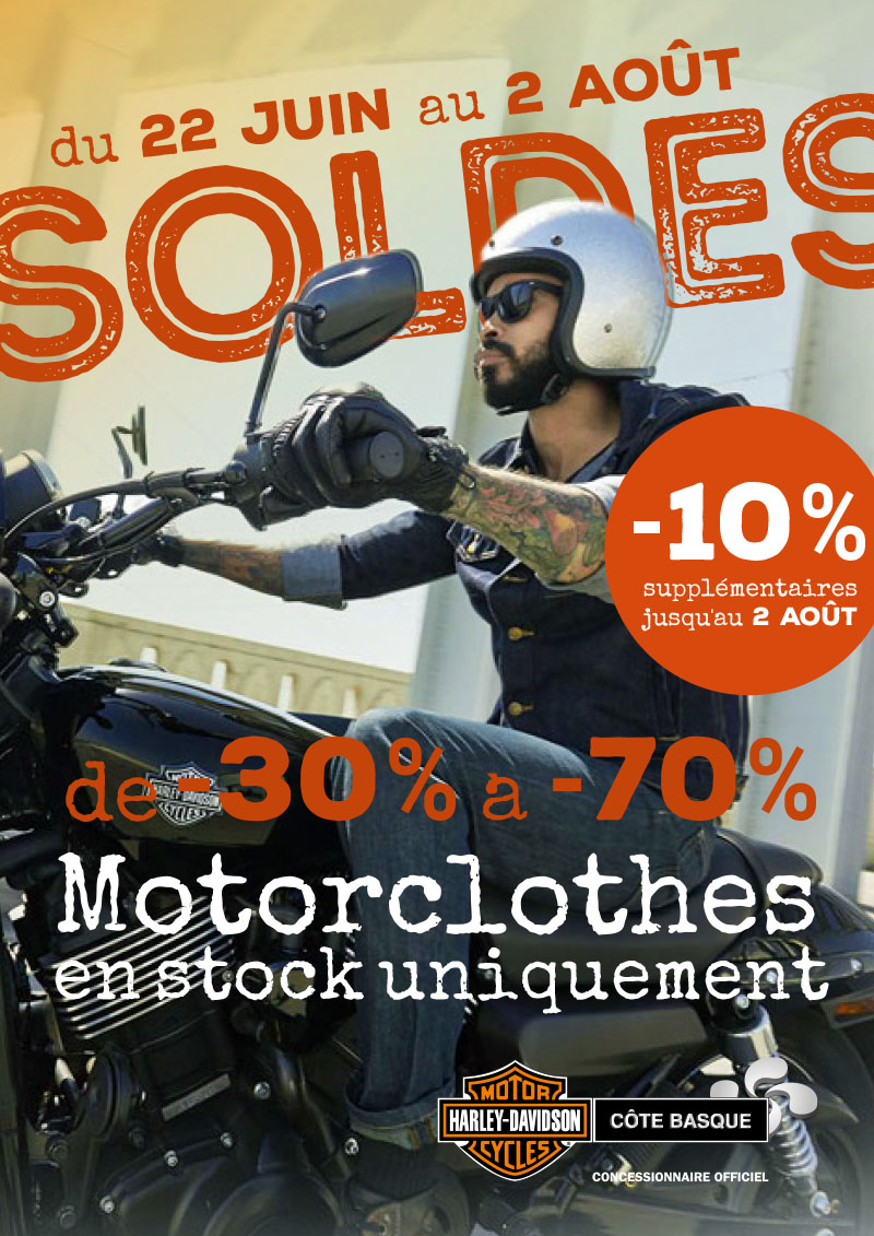 soldes 2 me d marque concessionnaire officiel harley davidson c te basque. Black Bedroom Furniture Sets. Home Design Ideas
